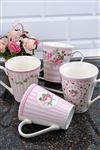 Bone China Pembe Kupa 4'l� Set