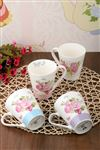 Bone China 4 Renk G�ll� Kupa 4'l� Set